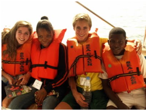 Blake student ride to Bunce Island on their trip to Sierra Leone in June