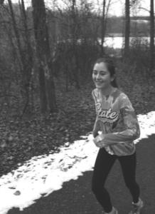 Emily Longley breaks a sweat