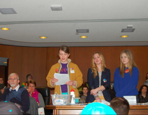 Members of the Justice League generated out-of-school interest in the Stand Up Speak Out Initiative through their presentation to high school students at Lobby Day. From left: Bekka Farley '15, Annelise Ellingboe '16, Megan Olson '14.