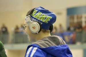 Catherine Maddrey '16 smiles as she watches her teammates compete in the section prelims on Wednesday November 6.