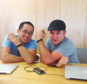 Jeff Trinh and Gary Spencer show off their Fitbits
