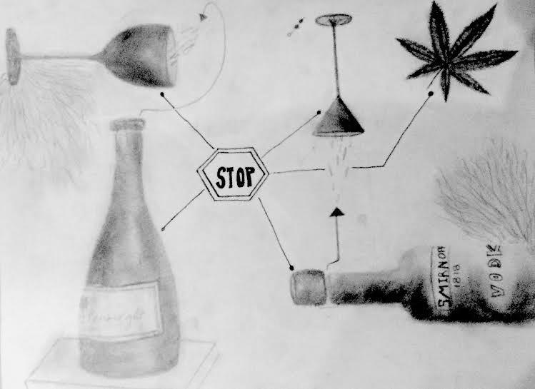 An illustration of the dilemma faced by teens in regards to recreational alcohol and drug use.