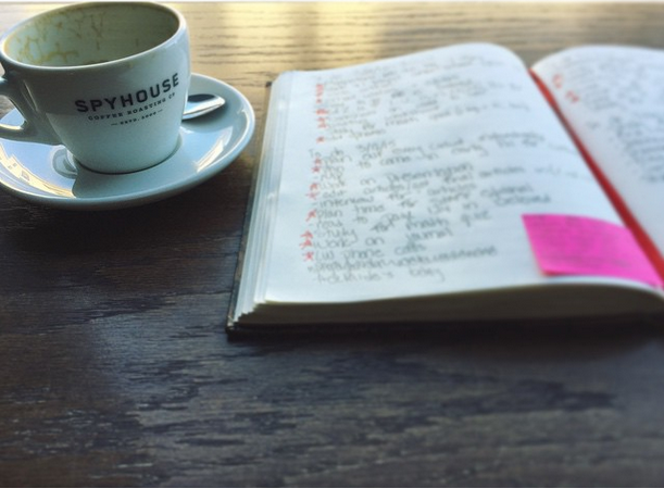 Coffee and an academic planner, the dynamic duo of an organized student's busy life.