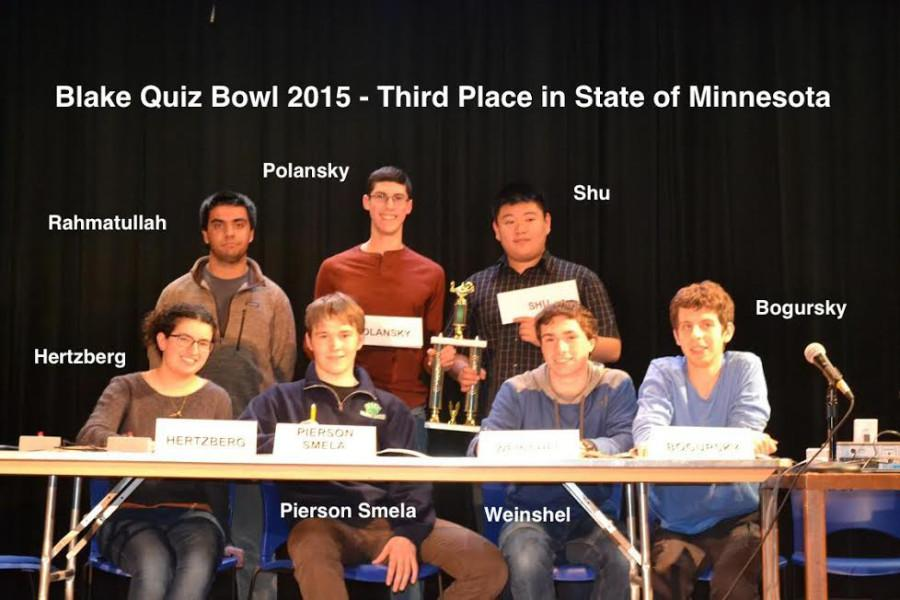 Seven seniors from the school competed in the State Quiz Bowl Tournament and placed third as a team.