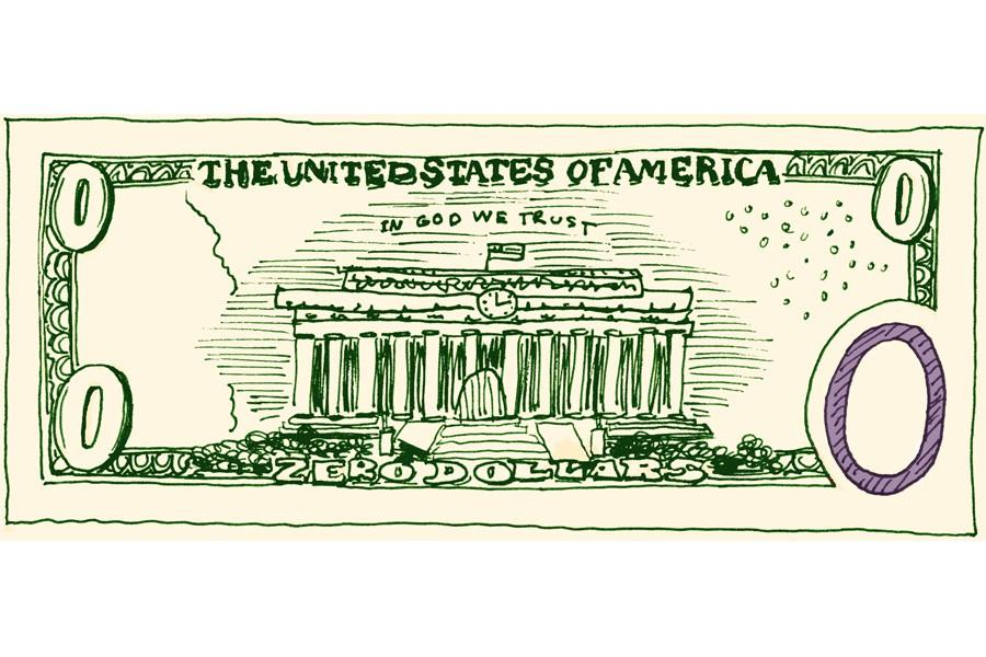 A drawing of a U.S. dollar bill with 0 as the amount.