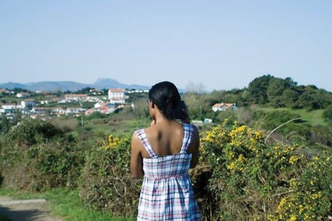 Alexis Reaves surveys a town in the Basque Country in France in May during a study abroad trip.