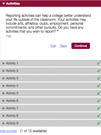 The screen that greets applicants on the Common Application website.