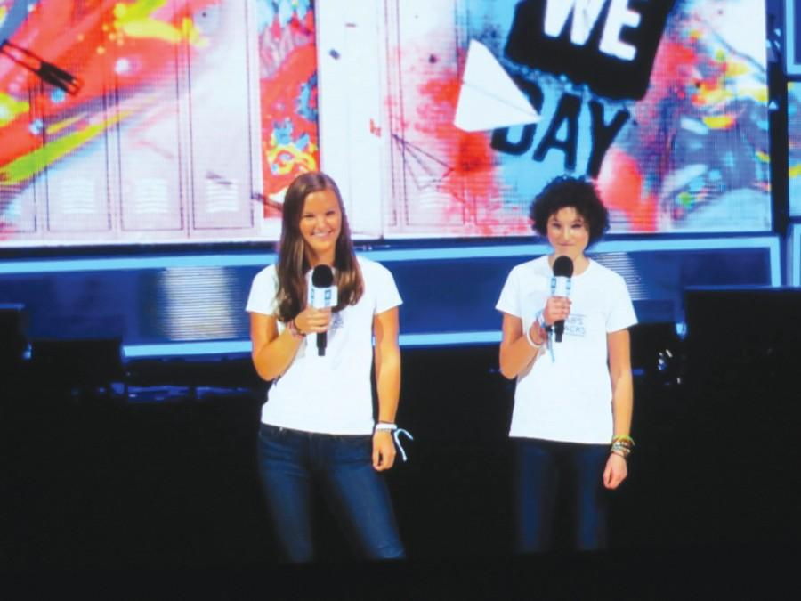 Abbie Nelson and Pia Phillips speak about PAB's PACKS at WE Day.