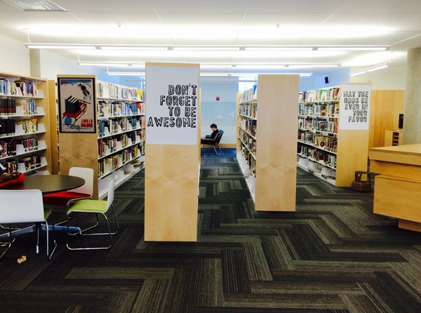 The newly renovated library is the home base for the schools tech staff