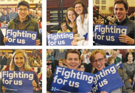 "from left: Darrel Hong '16, Julia Shepard '16, Robyn Lipschultz '16, Bennett Mattson '17, Caitlin Kearney '16, Sam Gittleman '16, and Calvin Rusley '16 all show their support at Hilary Clinton's rally with her slogan ""Fighting for us."""