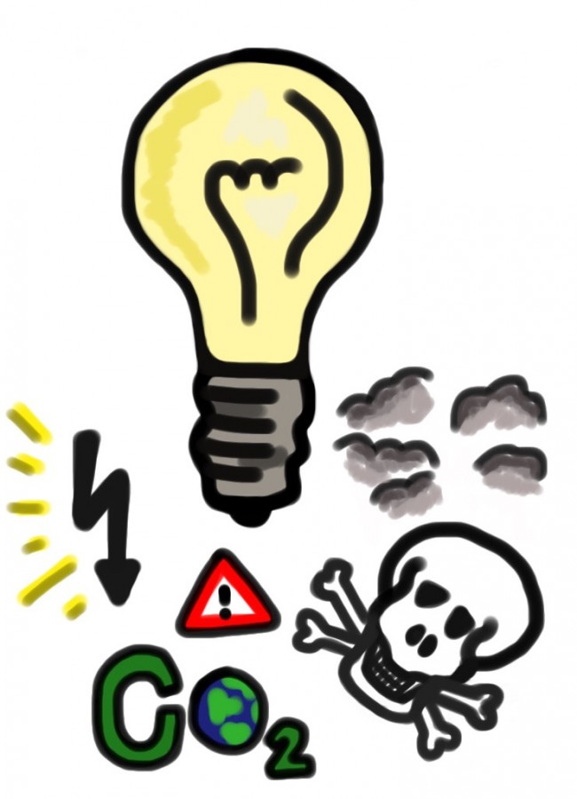 Lights produce many dangerous effects on the environment; they emit about a kilogram of carbon dioxide after just an hour of use, depending on the light bulb.