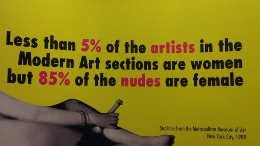 A mural by the Guerrilla Girls, currently at the Walker Art Center.