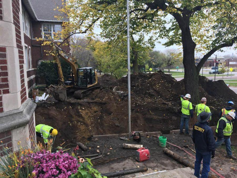The large hole right by the main entrance to the school was the product of the main water line breaking and needing to be replaced along with the original, planned maintenance of the sewer line.