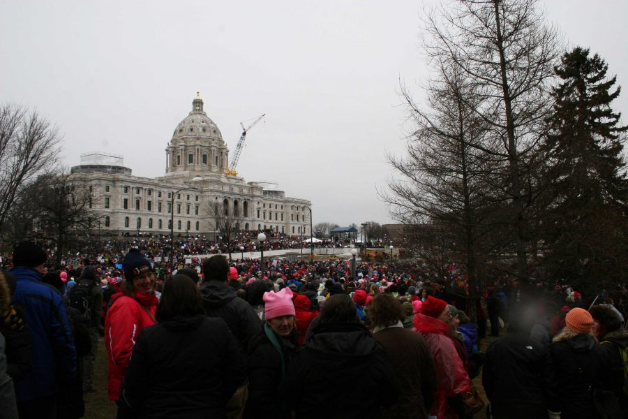 An estimated 100,000 people marched on January 21 to the Capitol in St. Paul.