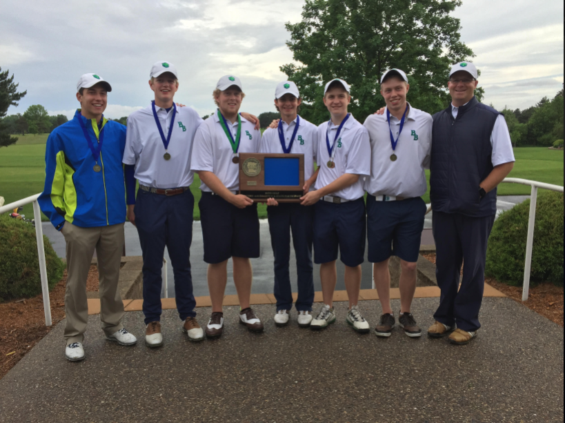 From left to right: Sam Gelb 18, Campbell Morrison 18, Reece Sanders 17, Derek Hitchner 18, Ian Murray 17, Peter Gullickson 17, and Coach Marshall Hoiness