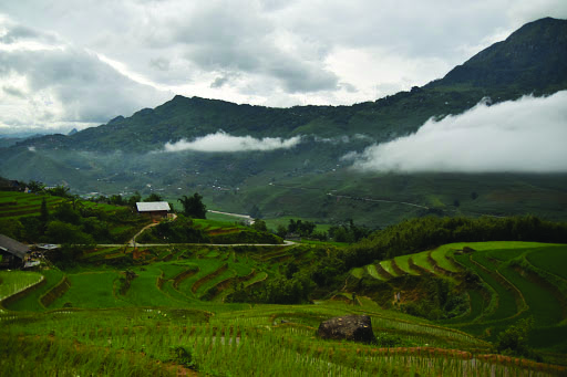 View from homestay in Ta Van Village, Vietnam featuring traditional hmong batik and cross stiching and tilled rice paddy.
