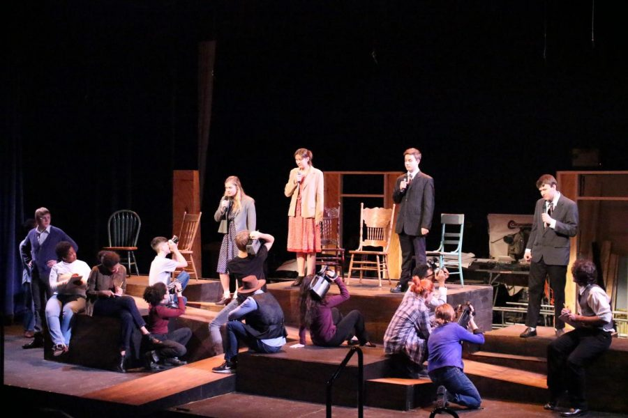 The Laramie Project ensemble performs one of the largest scenes in the play.  Taking place right after the tragic death of Matthew Shepard, the play explores how the  crime affect the small town of Laramie, Wyoming.