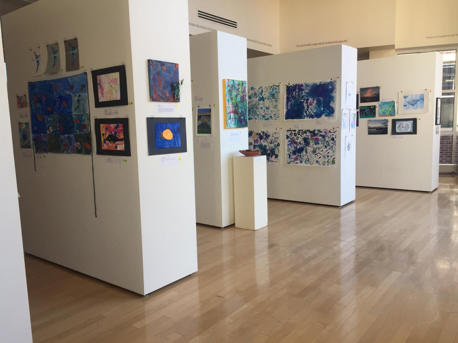 The pieces showcased in the gallery are created by students from kindergarten through twelfth grade and even by some faculty members.