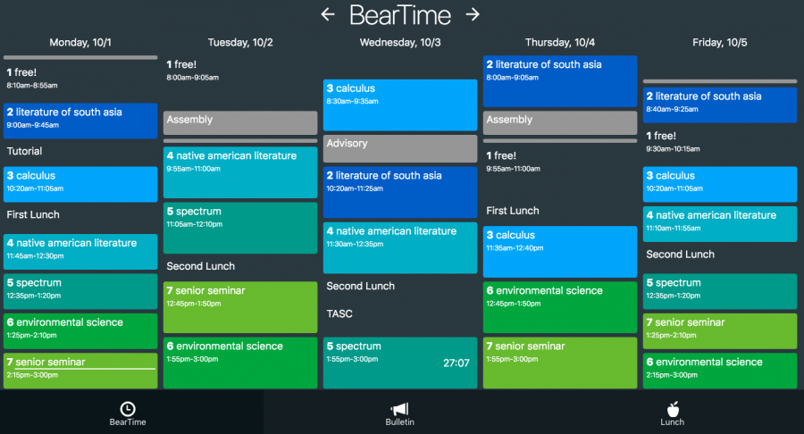 The scheduling tab of BearHug.