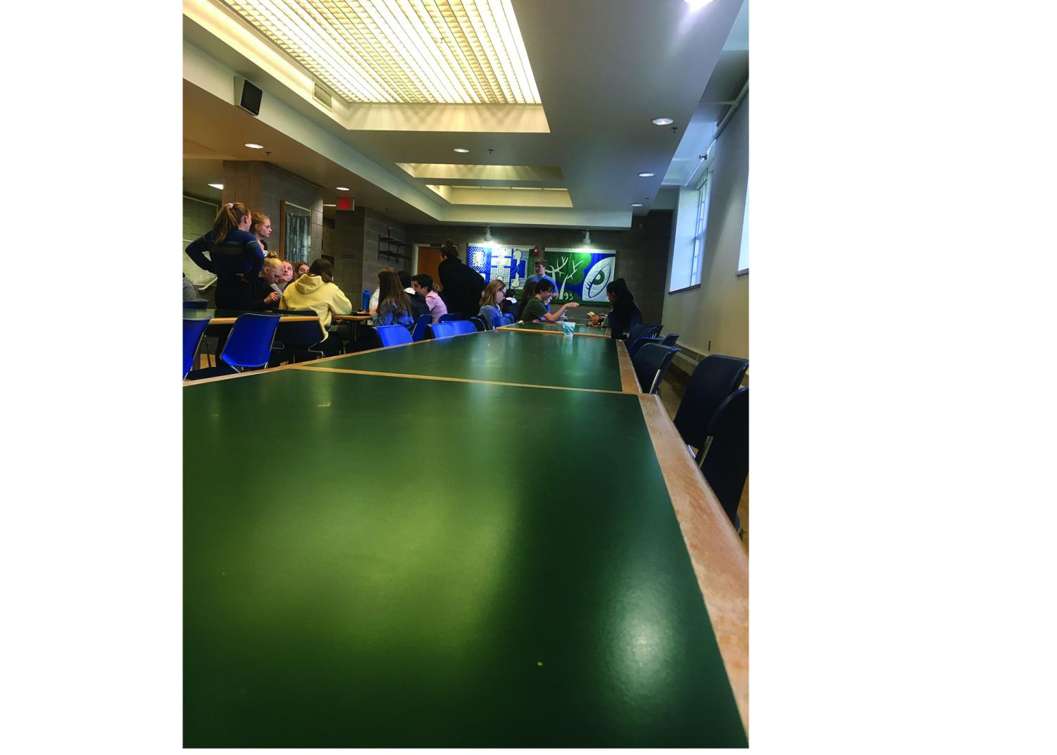 Many seats are left open during a second lunch. The lunch- room is usually quiet and spacious during this block.