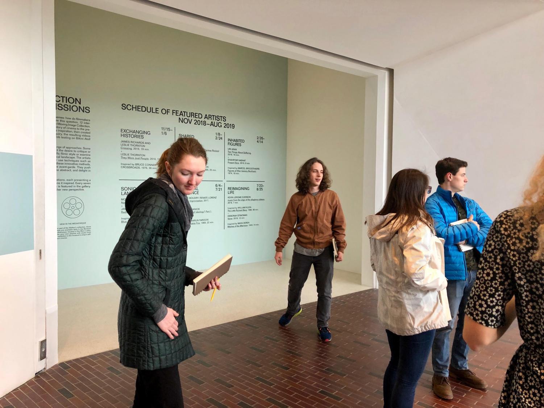 Lilli Herpers '19, Sierra Erdman Luntz '19, Henry Roach '19, and Tanner Parr '19 at the Walker Art Center for their Art History class