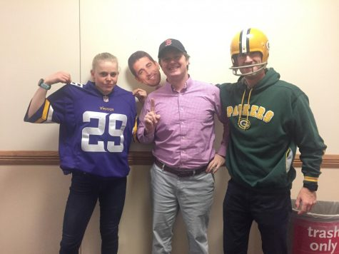 Maggie Bowman, Jim Mahoney and Patrick Barry supporting their respective teams, the Minnesota Vikings, the Boston Red Sox, and the Green Bay Packers