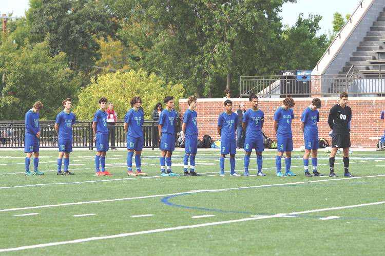 The Bears line up for the national anthem before a home game. The team has scored 58 goals this year already with Benji Pomonis leading the way with 13 goals.