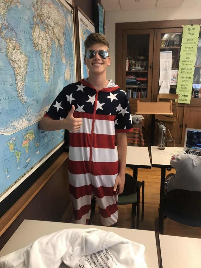 Nathan Blum '20 shows off his USA pride
