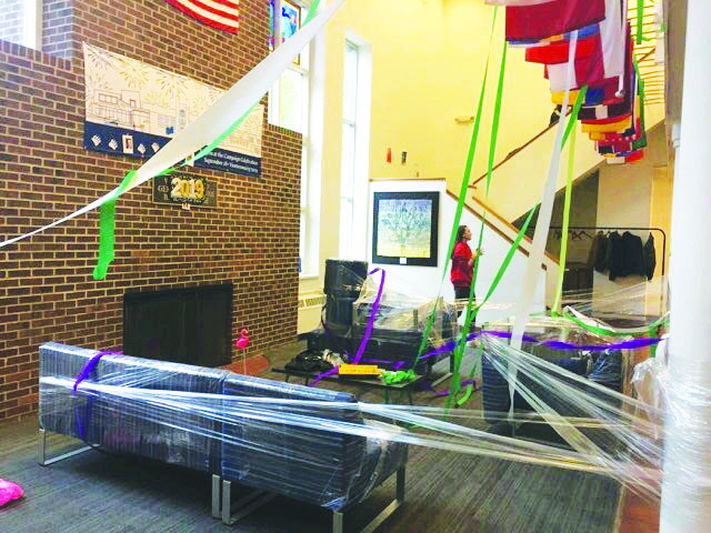 The Junior Lounge after the 2019 Senior Prank, a longstanding tradition often contested by faculty.