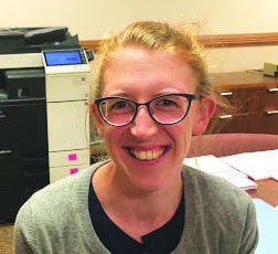 New math teacher, Erin Oakley settles into her new classroom.