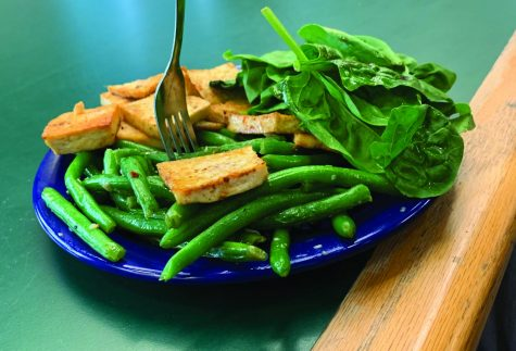 A great example of a healthy lunch at Blake, which includes tofu and spinach!