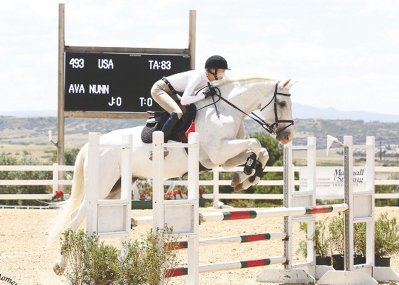 Grace Griffin '21 participates in a Hunter/Jumper Horse Show in Parker, Colorado.