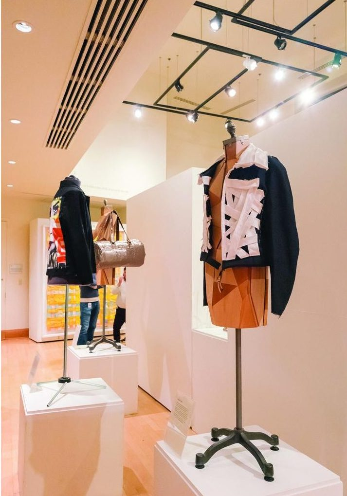 Pictured above are designer items from Vorbrich's solo show. Pieces ranged in style from clothing items to paintings and drawings. The open space in the gallery helps draw attention to each unique piece.