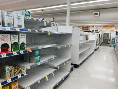 Taken on March 14, 2020, the Walgreens on Vernon Ave S cleaning supply section completely stripped of cleaning supplies.