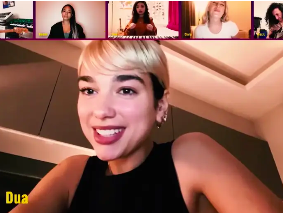 "Dua Lipa performed ""Don't Start Now"" with her dancers and bandmates through video chat on The Late Late Show with James Corden."