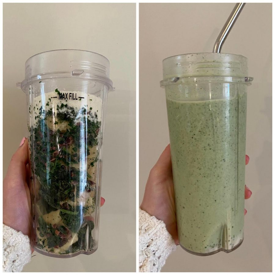All of the ingredients of the chocolate chip mint smoothie in the cup before getting blended (left) and the smoothie blended together (right).