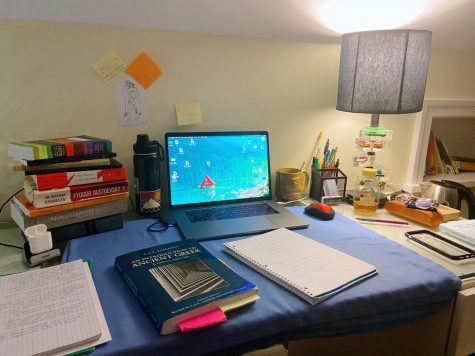 """This is my desk I set up here at home."""