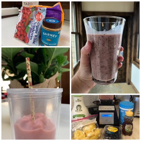 Maggie Seidel's '22 smoothie  (bottom left) with the ingredients she used (top left) and Sara Richardson's  '21 smoothie (top right) and the ingredients she used (bottom right)