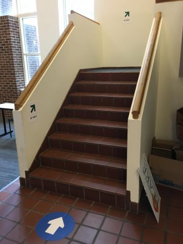 Arrows indicate the direction which students are supposed to use the stairs.