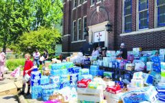 Food and household supply donations at Greater Mount Vernon Church.