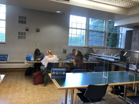 Seniors enjoy their lunch in the lunchroom. Unlike juniors and sophomores, seniors are allowed to eat in the courtyard or go to the senior lounge when they're finished. They find this time helps them stay on top of their schoolwork and college applications.