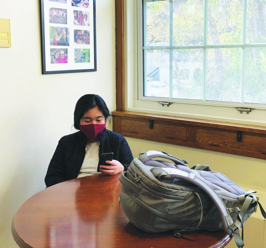 Often in use during times like TASC and tutorial, this table is a popular study spot because of its lack of proximity to others, view of the Otis Courtyard, and easy access to English teachers. Here, Lydia Lee '23 spends her tutorial at the table.
