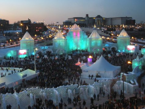 Above, is an ice palace from the Saint Paul Winter Carnival.
