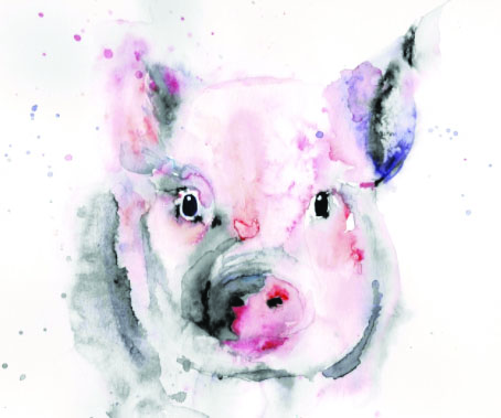 "Robin Grant's watercolor painting entitled ""Pig,"" is featured in the gallery's online Parent Show. Grant is the parent of two lower school children. They began exploring art last year through an online art class and they have grown to love it."