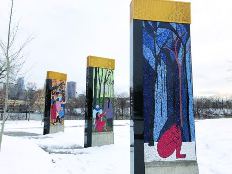 Lori Greene's Mosaics, permanently located at Boom Island Park, honor victims and survivors of sexual assault.