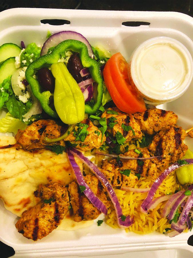 Greek Grill & Fry Co.'s chicken kebab platter.