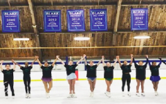 Athletes pose as a team at the end of their routine from last year's skating exhibition held at the Blake Ice Arena.