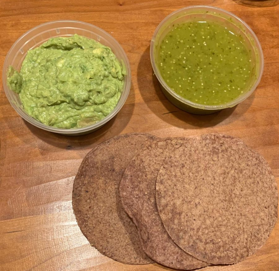 Nixta%27s+homemade+chips%2C+guacamole%2C+and+salsa+verde.