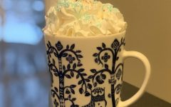 A mug of hot chocolate with a splash of vanilla overflows with whipped cream.