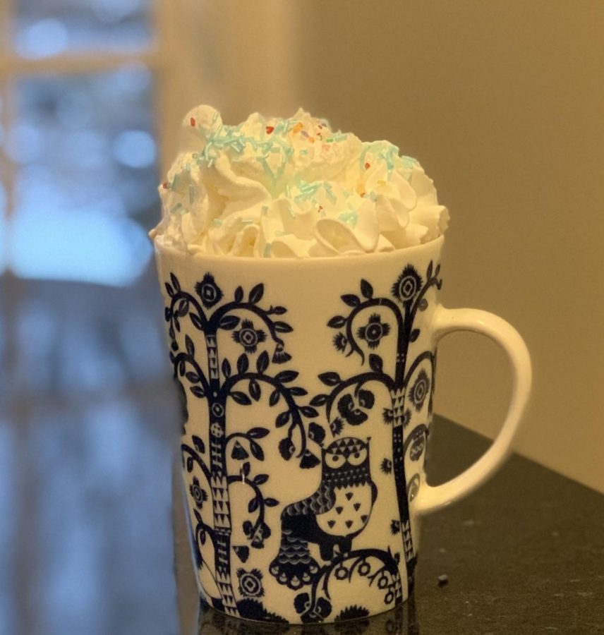 A+mug+of+hot+chocolate+with+a+splash+of+vanilla+overflows+with+whipped+cream.